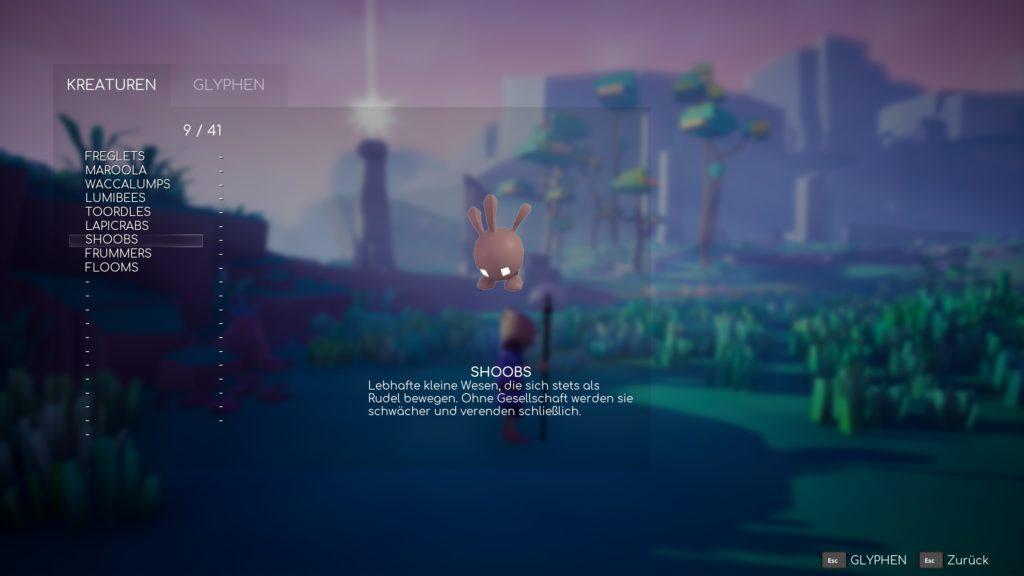 """Screenshot aus Omno. Darstellung der Kreaturen-Liste mit den ersten neun von 41 Einträgen. Im Fokus steht die Kreatur """"Shoobs""""."""