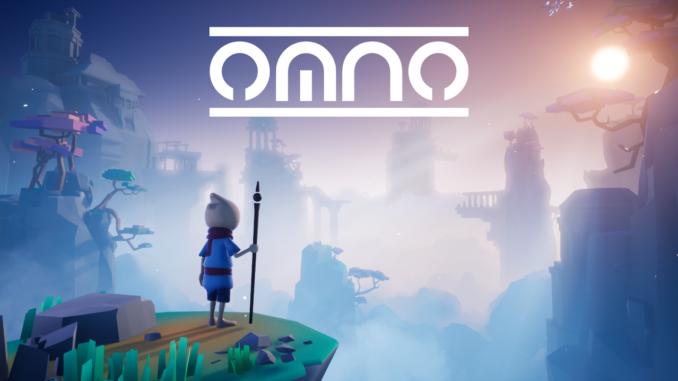 Titelartwork zum Spiel Omno mit Logo oben und Hauptfigur unten an einer Klippe vor einem großen Panorama der Welt stehend.