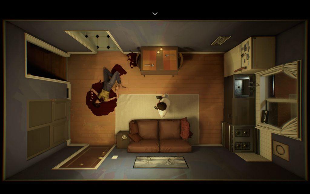 Screenshot aus 12 Minutes. Darstellung des Wohnzimmers aus der Vogelperspektive. Leichnam der Frau liegt links in einer Blutlache, im Zentrum steht der Mann.