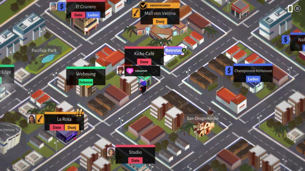 Screenshot der Oberwelt. Straßenkarte aus der isometrischen Vogelperspektive mit etlichen schwarzen Balken über den Gebäuden, die den Namen und Zweck der jeweiligen Location beinhalten.