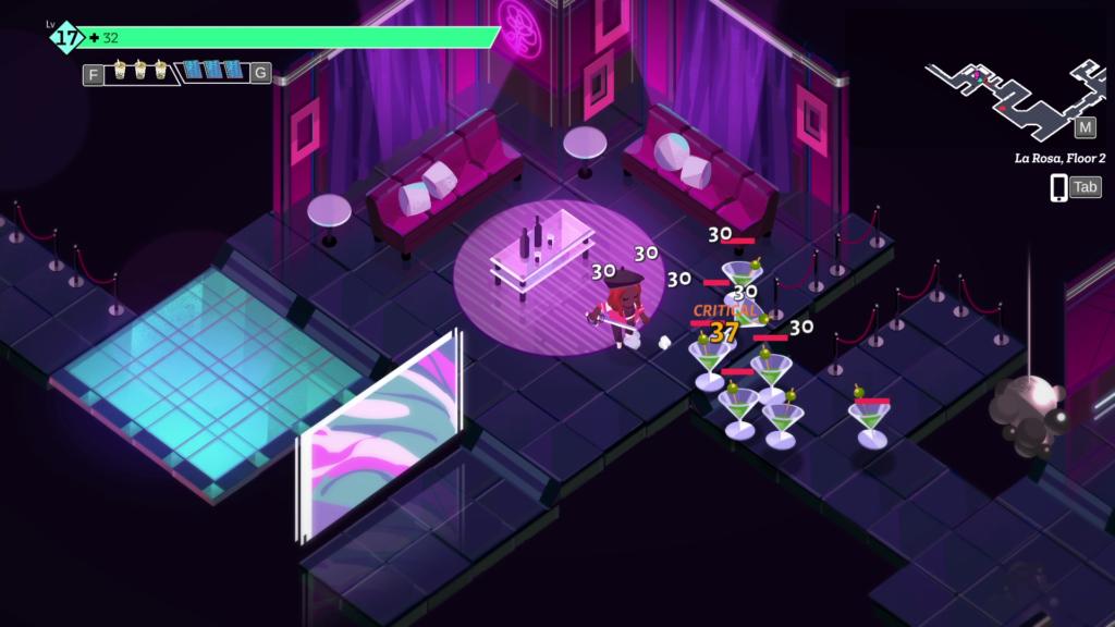 Screenshot. Darstellung einer Kammer, in der unser:e Held:in gegen eine Reihe von Cocktailgläsern kämpft