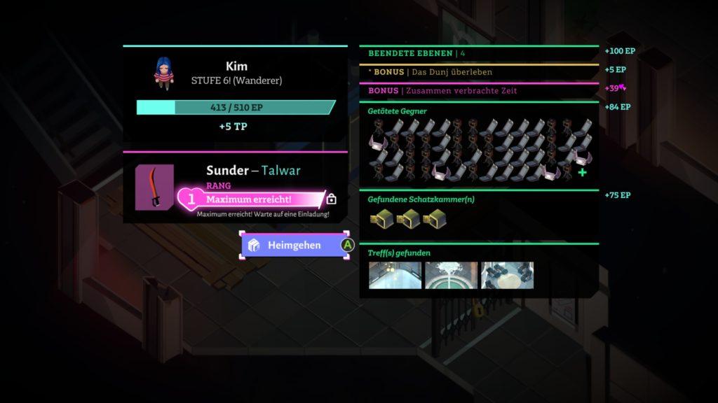 Screenshot eines beispielhaften Ergebnisbildschirms nach Verlassen des Dungeons.