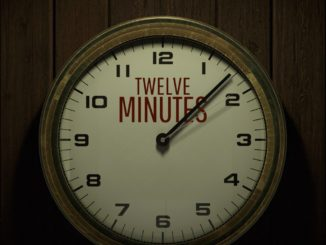 """Titelartwork aus 12 Minutes. Darstellung einer Uhr mit großem Zeiger und Sekundenzeiger, die zwischen 1 und 2 zeigen. Logo """"Twelve Minutes"""" befindet sich im Hintergrund des Zeigerblattes."""