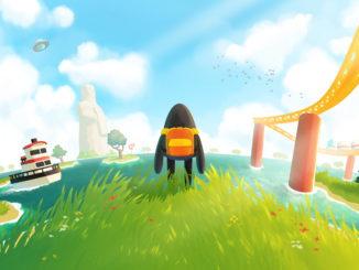 Artwork für A Monster's Expedition. das Monster steht mit dem RÜcken zur Kamera an einer Klippe. Im Hintergrund sehen wir ein Meer, in dem sich links mehrere kleinere Inseln und ein Leuchtturm befinden, rechts die Schienen einer Achterbahn stehen.
