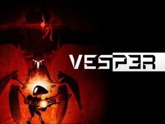 Artwork zu Vesper. Rechts mittig befindet sich das weiße Logo auf schwarzem Hintergrund. Links steht unten der Protagonist Seven, in dessen Hintergrund sieht man die Umrisse einer großen bedrohlichen Monstrosität.
