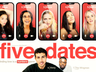 Artwork zu Five Dates. Fünf Frauen sind oben jeweils auf dem Bildschirm eines SMartphones nebeneinander zu sehen. Unten befindet sich der Hauptcharakter vor dem Logo als Hintergrund sowie einem weiteren männlichen Charakter.