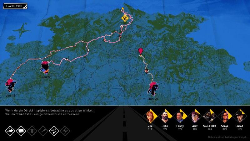 Screenshot. Darstellung einer Straßenkarte der Spielwelt, in der sich bereits einige Wegstrecken eingezeichnet finden.