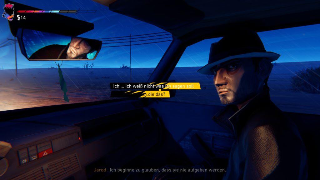 Screenshot. Darstellung des Charakters Jarod auf dem Beifahrersitz eines Autos.  In der Mitte sind Dialogoptionen eingeblendet.