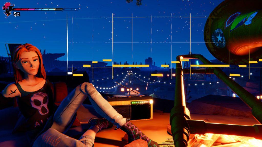 Screenshot. Darstellung des Charakters Zoe links an einem Lagerfeuer sitzend. Rechts sieht man, dass unsere Figur eine Tube spielt. Der Bildschirm ist von einem musikalischen Minispiel überlagert.