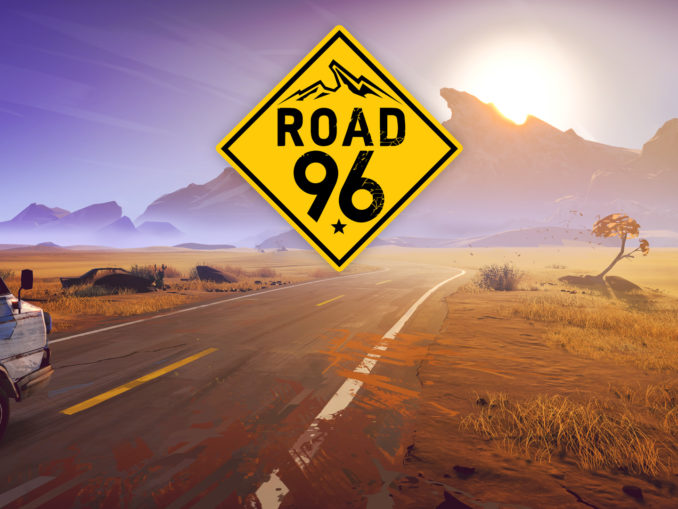 Titelbild zu ROad 96 mit Logo in der Mitte über einer Straße inmitten einer Wüste.